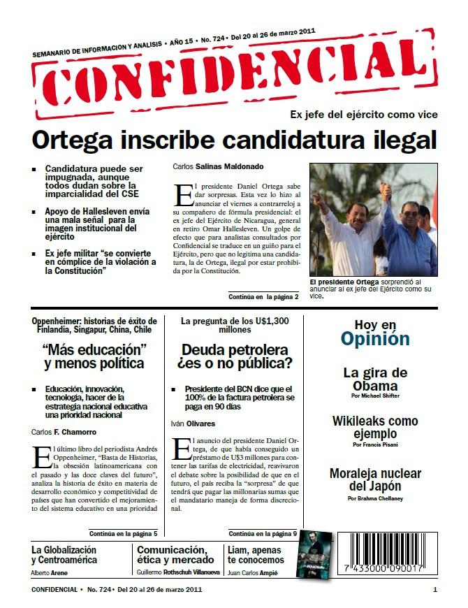 Ortega inscribe candidatura ilegal