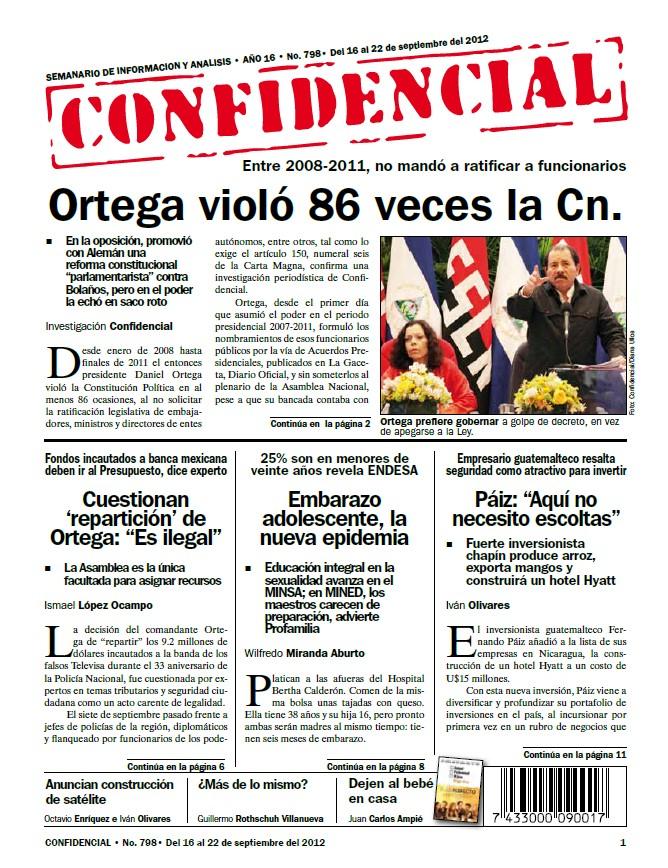 Ortega violó 86 veces la Cn.