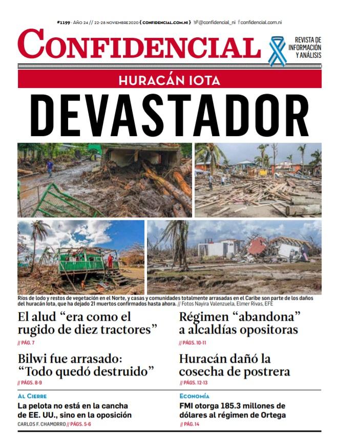 Huracán Iota devastador