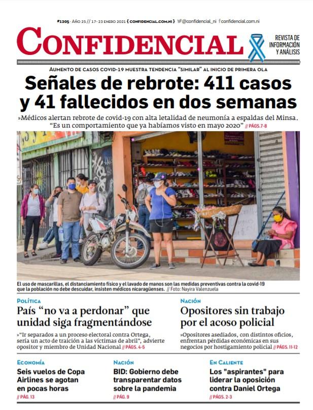Señales de rebrote en Nicaragua: 411 casos y 41 fallecidos en dos semanas
