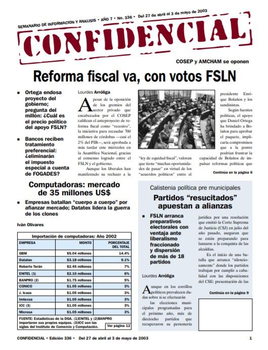Reforma fiscal va, con votos FSLN