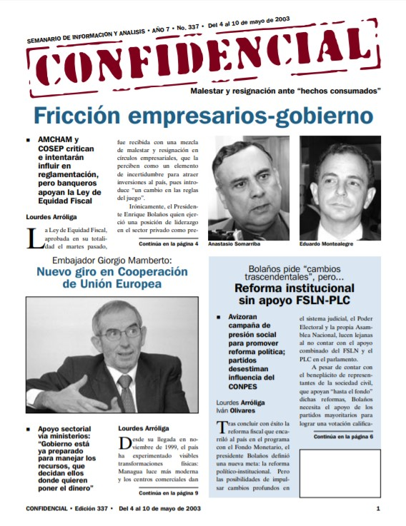 Fricción entre empresarios y Gobierno de Bolaños