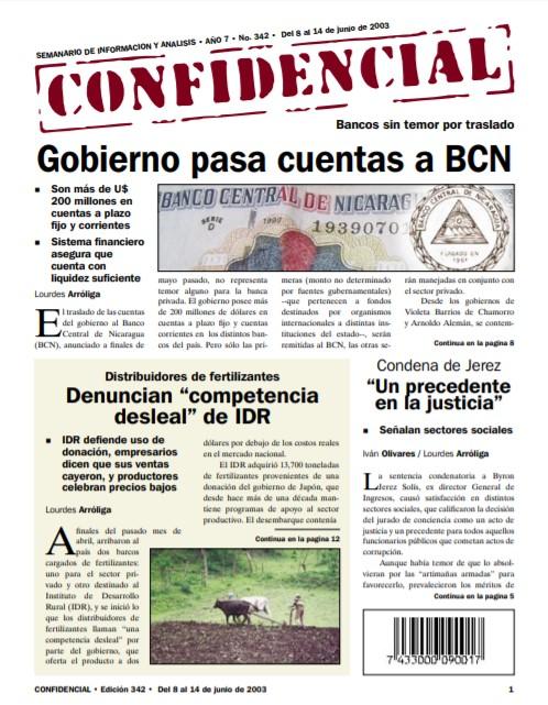 Gobierno de Enrique Bolaños pasa cuentas a BCN