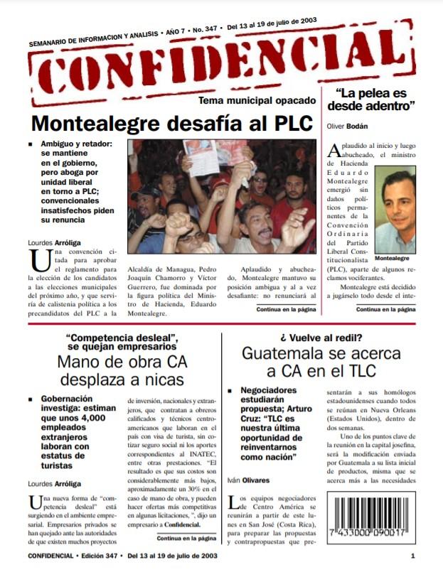 Eduardo Montealegre desafía al PLC