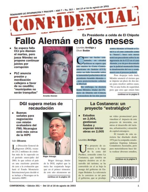 Fallo CCJ sobre caso Arnoldo Alemán se dará en dos meses