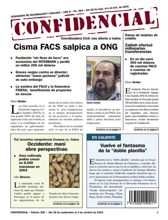 Cisma en Fundación Augusto César Sandino (FACS) salpica a ONG
