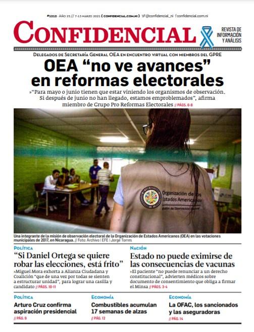 OEA «no ve avances» en reformas electorales de Nicaragua