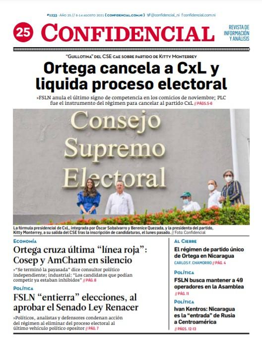 Daniel Ortega cancela al partido CxL y liquida proceso electoral