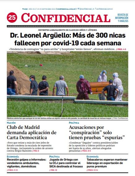 Dr. Leonel Argüello: Más de 300 nicas fallecen por covid-19 cada semana